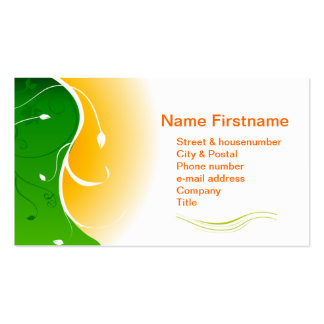 White flower Green Grass with Orange Sunny Sunset Pack Of Standard Business Cards