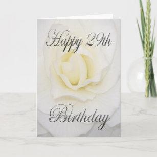 White Flower Happy 29th Birthday Card