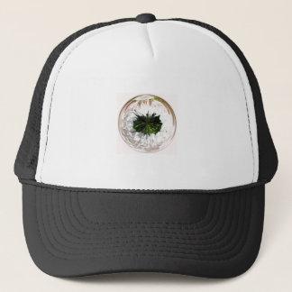 White flower in the globe trucker hat