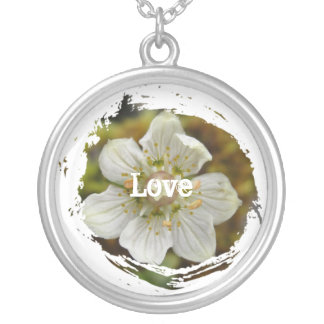 White Flower in the Moss; Customizable Round Pendant Necklace