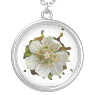 White Flower in the Moss Round Pendant Necklace