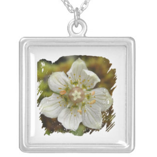 White Flower in the Moss Square Pendant Necklace