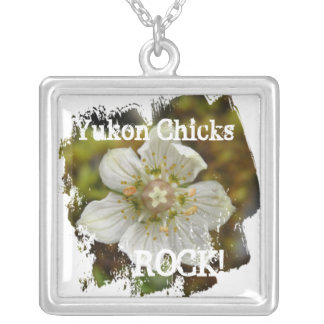 White Flower in the Moss; Yukon Chicks ROCK Square Pendant Necklace