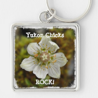 White Flower in the Moss; Yukon Chicks ROCK Silver-Colored Square Key Ring