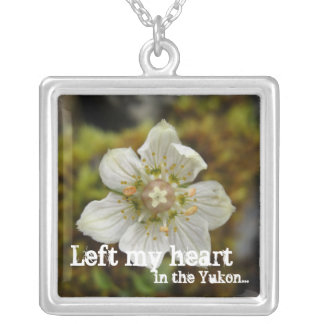 White Flower in the Moss; Yukon Territory Souvenir Square Pendant Necklace
