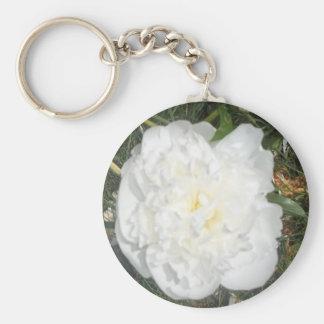 White Flower Basic Round Button Key Ring