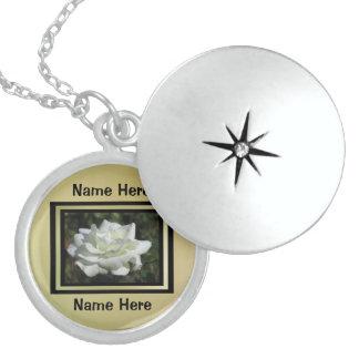 White Flower Locket Necklace
