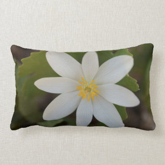 White Flower Lumbar Throw Pillow