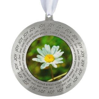 White flower macro round ornament