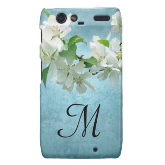 White Flower on Blue Monogram Motorola Razr Cas Droid RAZR Cover