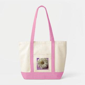white flower on polka dots impulse tote bag