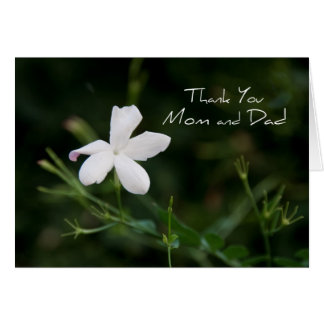 White Flower Parents  Wedding Day Thank You Card