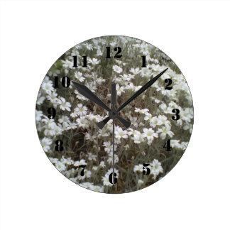 White flower Plant Round Clock