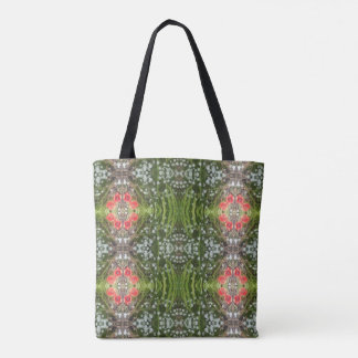 White Flower & Red Poppy Fractal Tote Bag