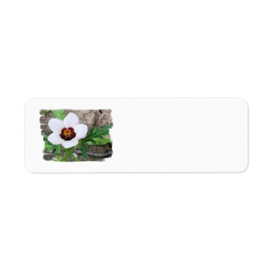 White Flower Return Address Label