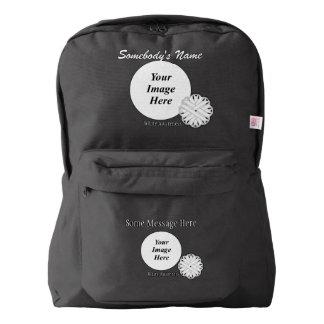 White Flower Ribbon Template Backpack