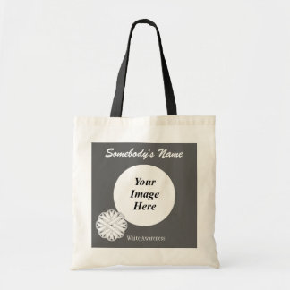 White Flower Ribbon Template Budget Tote Bag