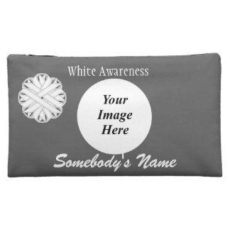 White Flower Ribbon Template Makeup Bags