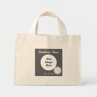White Flower Ribbon Template Mini Tote Bag