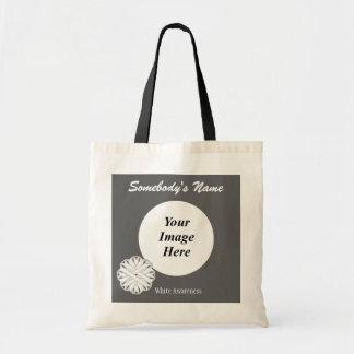 White Flower Ribbon Template Budget Tote Bag