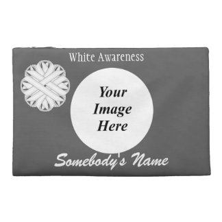 White Flower Ribbon Template Travel Accessory Bags