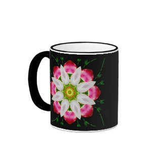 White Flower Ringer Mug