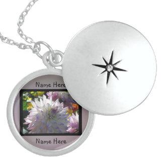 White Flower Round Locket Necklace