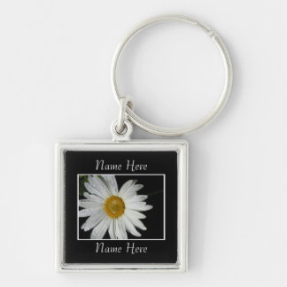 White Flower Silver-Colored Square Key Ring