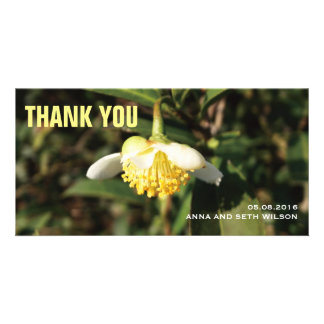 White Flower Thank You Photo Card
