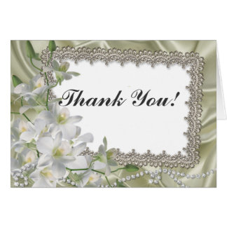 White Flower wedding Thank You notecards Card