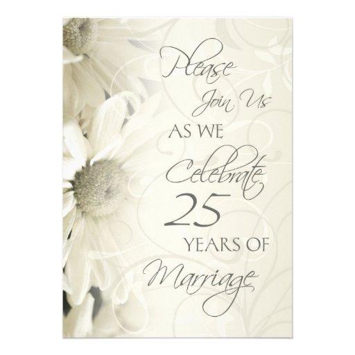 White flowers th wedding anniversary invitations cm