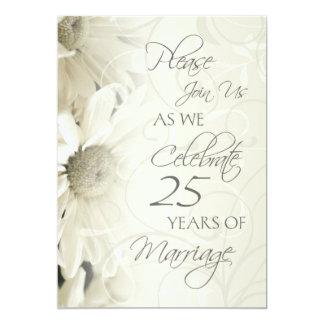 White Flowers 25th Wedding Anniversary Invitations