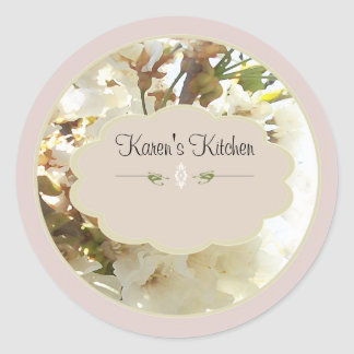 white flowers 2 spice jar labels classic round sticker