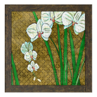 White Flowers and Green Stems on Brown Border Acrylic Print