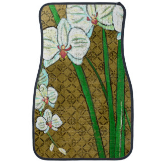 White Flowers and Green Stems on Brown Border Car Mat