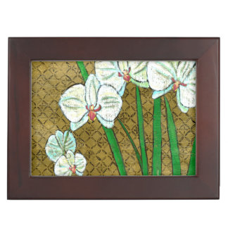 White Flowers and Green Stems on Brown Border Keepsake Box
