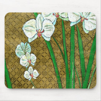 White Flowers and Green Stems on Brown Border Mouse Mat