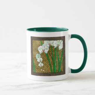 White Flowers and Green Stems on Brown Border Mug