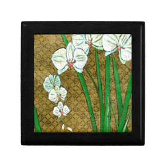 White Flowers and Green Stems on Brown Border Small Square Gift Box