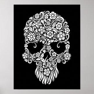 White Flowers and Vines Skull Design on Black Poster