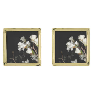 White Flowers Black Background Jasmine Flower Moon Gold Finish Cuff Links