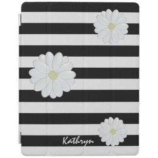 White Flowers, Black Stripes iPad 2/3/4 Cover iPad Cover