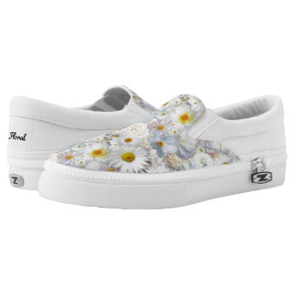 White Flowers Bouquet Floral Wedding Bridal Spring Slip On Shoes