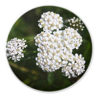 White Flowers Ceramic Door Knobs