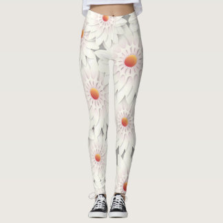 White flowers design leggings