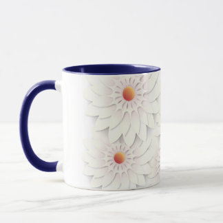 White flowers design mug
