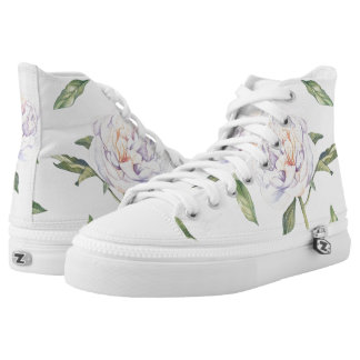 White Flowers Green Leaves on White High Tops