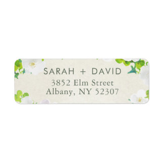 White Flowers Green Leaves Return Address Label