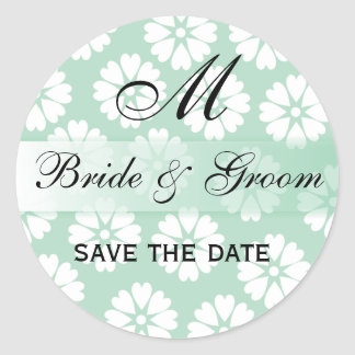 White Flowers Green Wedding Monogram Seal Round Round Sticker