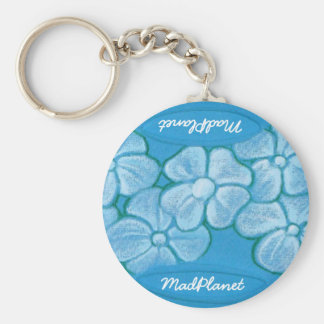 White Flowers Hand Painted on Ripped Fabric Key Ring